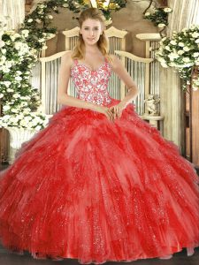 Dazzling Ball Gowns Quince Ball Gowns Coral Red Straps Organza Sleeveless Floor Length Lace Up