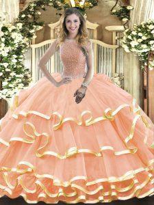 Artistic Floor Length Peach Sweet 16 Dresses Organza Sleeveless Beading and Ruffled Layers