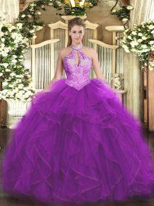 Halter Top Sleeveless Quinceanera Gowns Floor Length Ruffles and Sequins Purple Organza