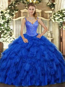 Sleeveless Floor Length Beading and Ruffles Lace Up Quinceanera Dresses with Royal Blue