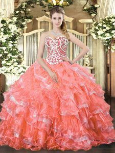 Watermelon Red Sleeveless Floor Length Beading and Ruffled Layers Lace Up 15th Birthday Dress