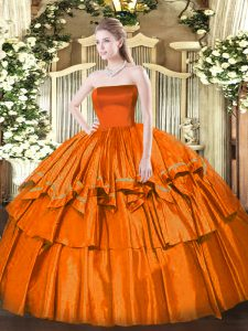 Fancy Floor Length Ball Gowns Sleeveless Orange Red 15 Quinceanera Dress Zipper