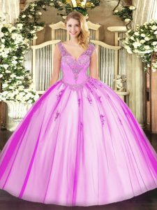 Ideal Lilac Sleeveless Floor Length Beading Lace Up Quinceanera Gown