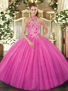 Best Selling Sleeveless Tulle Floor Length Lace Up Sweet 16 Dress in Hot Pink with Beading and Embroidery