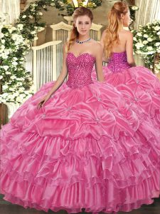 Sleeveless Organza Floor Length Lace Up Vestidos de Quinceanera in Rose Pink with Beading and Ruffled Layers and Pick Ups