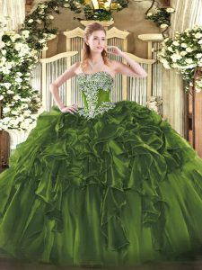 Gorgeous Olive Green Quinceanera Gowns Military Ball and Sweet 16 and Quinceanera with Beading and Ruffles Strapless Sleeveless Lace Up