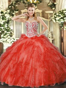 Decent Floor Length Coral Red Sweet 16 Dresses Sweetheart Sleeveless Side Zipper