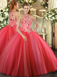 Beauteous Coral Red Halter Top Lace Up Embroidery 15 Quinceanera Dress Sleeveless