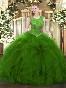 Green Zipper Quinceanera Gown Beading and Ruffles Sleeveless Floor Length