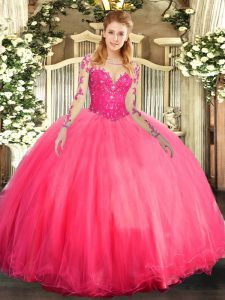 High End Coral Red Long Sleeves Lace Floor Length 15 Quinceanera Dress
