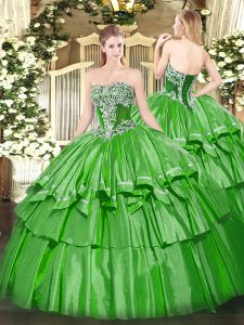 Simple Green Ball Gown Prom Dress Military Ball and Sweet 16 and Quinceanera with Beading and Ruffled Layers Strapless Sleeveless Lace Up