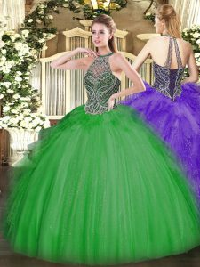 Ball Gowns Quinceanera Dress Green Sweetheart Tulle Sleeveless Floor Length Lace Up