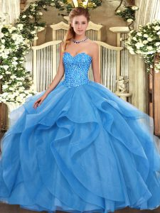 Captivating Sweetheart Sleeveless Lace Up Quinceanera Dresses Baby Blue Tulle