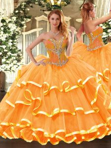 Sleeveless Floor Length Beading and Ruffled Layers Lace Up Sweet 16 Dress with Orange