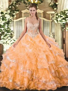 Orange Straps Lace Up Beading and Ruffled Layers Quince Ball Gowns Sleeveless