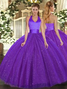 Low Price Purple Lace Up Halter Top Sequins Quinceanera Gowns Tulle Sleeveless