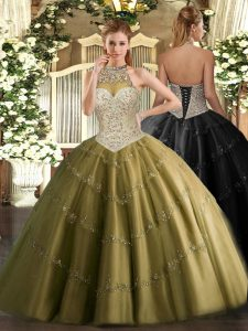 Sleeveless Floor Length Beading and Appliques Lace Up 15th Birthday Dress with Brown