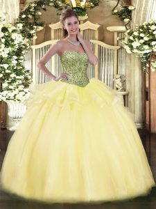 Eye-catching Sleeveless Lace Up Floor Length Beading and Ruffles Quinceanera Dress