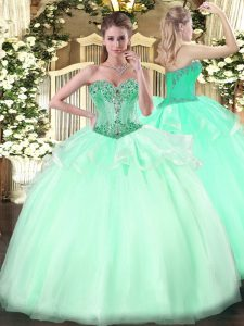 Popular Apple Green Ball Gowns Organza Sweetheart Sleeveless Beading Floor Length Lace Up 15th Birthday Dress