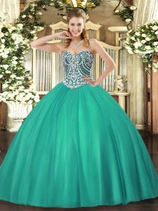 Popular Floor Length Ball Gowns Sleeveless Turquoise Quinceanera Dresses Lace Up