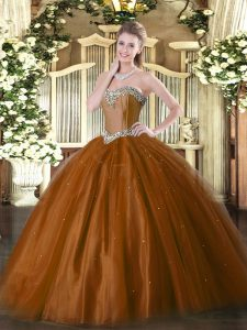 Extravagant Floor Length Ball Gowns Sleeveless Rust Red Quinceanera Gown Lace Up