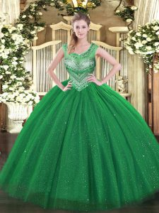 Romantic Scoop Sleeveless Quince Ball Gowns Floor Length Beading and Sequins Dark Green Tulle