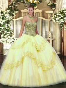 Exceptional Light Yellow Sleeveless Beading and Appliques Floor Length Ball Gown Prom Dress
