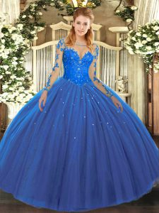 Clearance Long Sleeves Floor Length Lace Lace Up Ball Gown Prom Dress with Blue