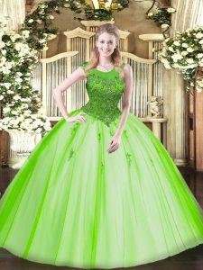 Scoop Sleeveless Tulle Ball Gown Prom Dress Beading Zipper