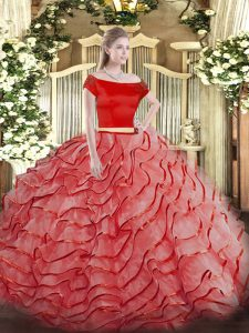 Shining Coral Red Off The Shoulder Neckline Ruffled Layers Ball Gown Prom Dress Short Sleeves Zipper