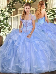 Suitable Sleeveless Organza Floor Length Lace Up Quinceanera Gowns in Light Blue with Appliques and Ruffles