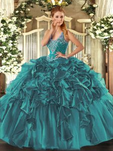 Best Selling Teal Mermaid Straps Sleeveless Organza Floor Length Lace Up Beading and Ruffles Sweet 16 Dress