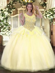 Sexy Light Yellow Sleeveless Organza Zipper Quinceanera Dress for Military Ball and Sweet 16 and Quinceanera