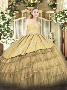 Gold Ball Gowns Sweetheart Sleeveless Organza and Taffeta Floor Length Zipper Beading and Lace and Embroidery and Ruffled Layers Sweet 16 Quinceanera Dress
