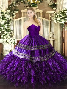 Organza and Taffeta Sweetheart Sleeveless Zipper Embroidery and Ruffles Quinceanera Dresses in Purple