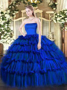 Ideal Floor Length Ball Gowns Sleeveless Royal Blue Quinceanera Dresses Zipper