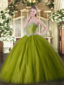 Superior Beading Quinceanera Gown Olive Green Lace Up Sleeveless Floor Length