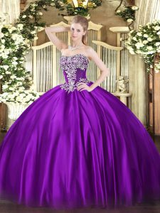 Purple Ball Gowns Strapless Sleeveless Satin Floor Length Lace Up Beading Sweet 16 Dress