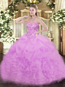 Lilac Sweetheart Neckline Lace and Ruffles and Pick Ups Sweet 16 Dresses Sleeveless Lace Up