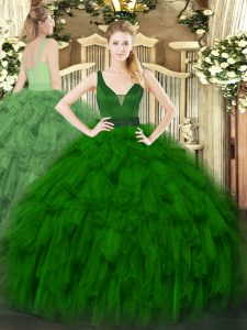 Noble Floor Length Zipper Ball Gown Prom Dress Dark Green for Military Ball and Sweet 16 and Quinceanera with Beading and Ruffles