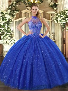 Fitting Royal Blue Halter Top Lace Up Beading and Embroidery Quinceanera Gowns Sleeveless