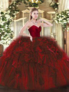 Most Popular Wine Red Zipper Quinceanera Dresses Ruffles Sleeveless Floor Length