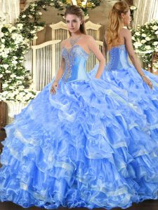 Custom Design Baby Blue Ball Gowns Organza Sweetheart Sleeveless Beading and Ruffled Layers Floor Length Lace Up Quinceanera Gowns