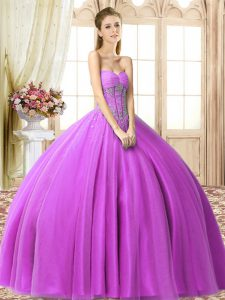 Free and Easy Lilac Tulle Lace Up Sweet 16 Dresses Sleeveless Floor Length Beading