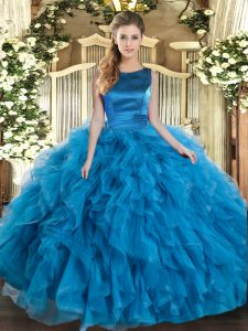 Teal Sleeveless Ruffles Floor Length Sweet 16 Dress