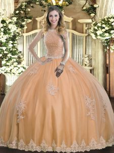 Peach Ball Gowns Tulle High-neck Sleeveless Beading and Appliques Floor Length Lace Up Quinceanera Gowns