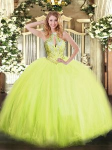 Sleeveless Floor Length Beading Lace Up Quinceanera Dress with Yellow Green