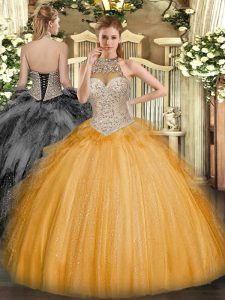 Hot Sale Floor Length Lace Up Sweet 16 Quinceanera Dress Orange for Military Ball and Sweet 16 and Quinceanera with Beading and Ruffles