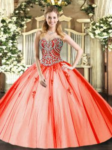 Top Selling Orange Red Ball Gowns Sweetheart Sleeveless Tulle Floor Length Lace Up Beading and Appliques Quinceanera Gown