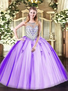 Glamorous Lavender Sweet 16 Quinceanera Dress Military Ball and Sweet 16 and Quinceanera with Beading and Appliques Scoop Sleeveless Zipper